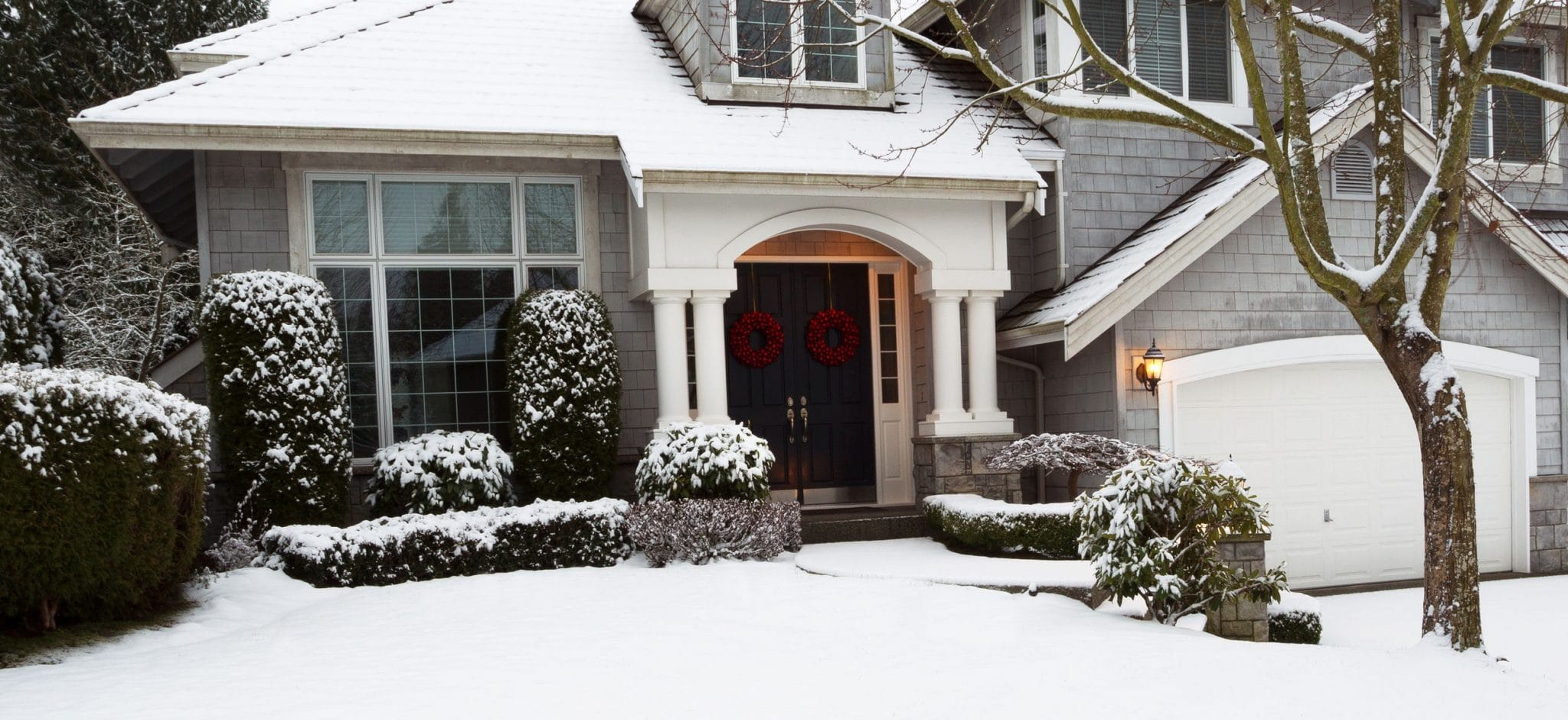 Exterior of a home after snowfall