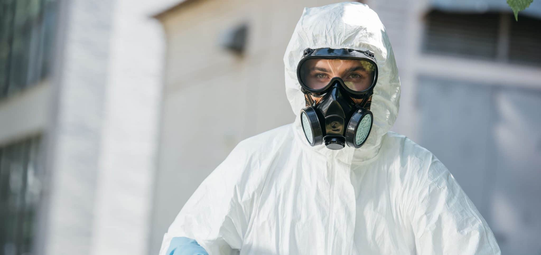 Woman in a hazardous materials suit