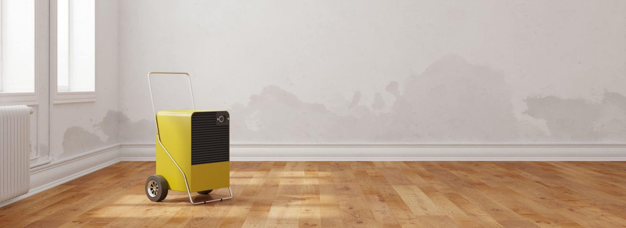 Professional dehumidifier in room after water damage