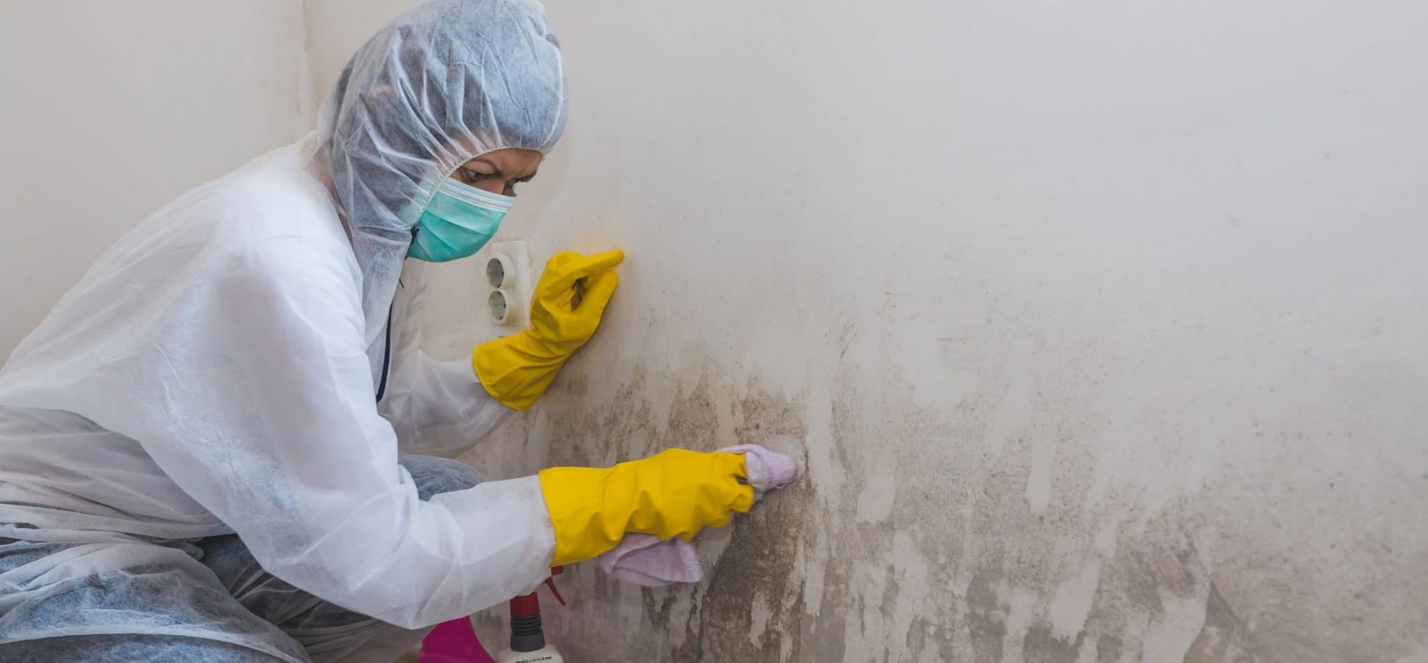 Woman scrubbing mold off a wall